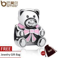 Authentic 925 Sterling Silver It S A G*rl Teddy Bear Pink Enamel Charm Fit Original Bracelets Jewelry Accessories Pas219 ใน จีน