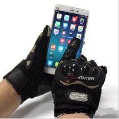 PROBIKER ถุงมือขี่มอเตอร์ไซค์เต็มนิ้ว แบบทัชสกรีนจอมือถือได้(สีดำ) (XL)