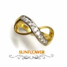 โปรโมชั่น แหวน อินฟินิตี้ ฝังเพชรรัสเซีย ตัวเรือนทองเหลือง ชุบทอง ถูก