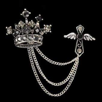 Europe And America Vintage Crystal DANISA Female Corsage Cross Tassels Brooch Suit Collar Safety Pin