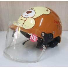โปรโมชั่น หมวกกันน็อคเด็ก ครึ่งใบ ลายหมี สีน้ำตาล ถูก