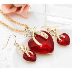 ราคา ราคาถูกที่สุด เซตสร้อยคอจี้หัวใจประดับคริสตัลสีแดง