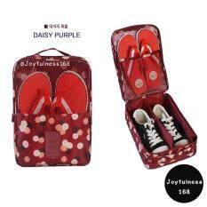 กระเป๋าใส่รองเท้าลายดอกเดซี่ สีแดงเลือดหมู ใน Thailand