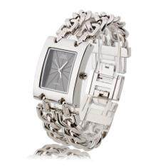 ซื้อ นาฬิกาข้อมือนาฬิกาข้อมือผู้หญิงเงินสร้อยข้อมือสีเทาสี่เหลี่ยมโทร Thailand