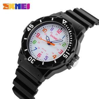 นาฬิกานาฬิกาแบรนด์แฟชั่นเด็กสบายๆควอตซ์หนังเทียมสายหรูสีส้มสำหรับเด็กกรณี 50 เมตรกันน้ำ reloj mujer 1043 - นานาชาติ