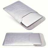 ซื้อ Pu Leather Sleeve Laptop Case Computer Bag Cover For Macbook Air 11 6 Laptop Silver ถูก
