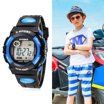 Q-ร้านกันน้ำ Boy เด็กผู้หญิงกีฬานาฬิกาข้อมืออิเล็กทรอนิกส์สีฟ้า-นานาชาติ