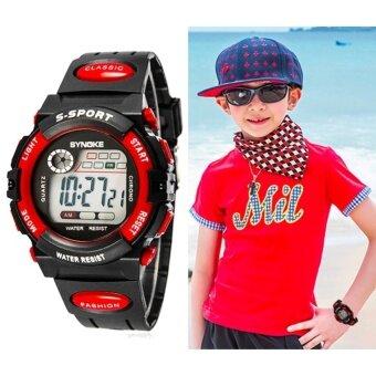 Q-shop Multifunction Waterproof Child Boy Girl Sports Electronic Wrist Watch Red - intl