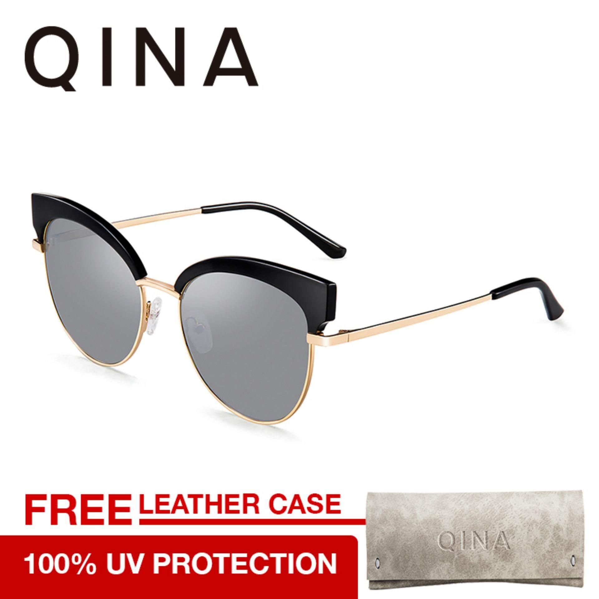 Qina แว่นกันแดดสำหรับผู้หญิง กรอบทรงตาแมว ป้องกันรังสี Uv400 Qn6011 คอลเลคชั่นปี 2018 เป็นต้นฉบับ