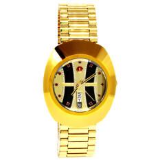 ขาย ซื้อ Rado Diastar Automatic นาฬิกาข้อมือสุภาพบุรุษ 11 ทับทิบแดง สายทอง รุ่น R12413323 หน้าดำ ทองรางรถไฟ ใน พะเยา