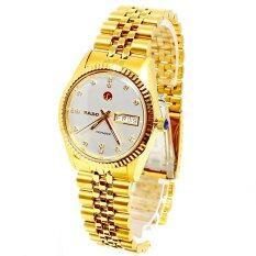 Rado Voyager Automatic นาฬิกาผู้ชาย ขอบหยัก หน้าขาว สายทอง รุ่น 636 4017 2 061 สีทอง เป็นต้นฉบับ