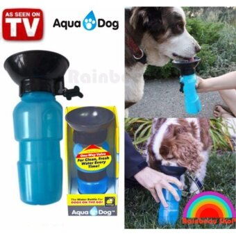 RainbeauShop Aqua Dog ขวดน้ำพกพาสำหรับสุนัข ชามในตัว ขวดน้ำสุนัข ขวดให้น้ำหมา แมว พกพาได้ (สีฟ้า)