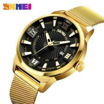 แบรนด์นาฬิกาแฟชั่นควอตซ์นาฬิกาผู้ชายหรูธุรกิจทองนาฬิกาสแตนเลสสตีลกันน้ำนาฬิกาข้อมือชายนาฬิกา Relogio Masculino 9166 - นานาชาติ