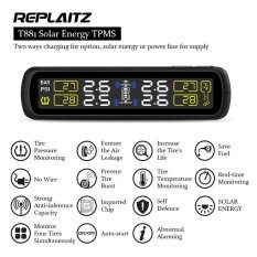 ขาย Replaitz Car Tyre Pressure Monitoring System Solar Power Charging Auto Security Alarm Systems Black Intl ถูก