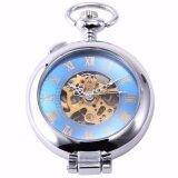 ย้อนยุคสีฟ้าเงินรอบโปร่งใสฮันเตอร์โครงกระดูกผู้ชายผู้หญิง Fob จี้คอยาวนาฬิกาพ็อกเก็ตนาฬิกานาฬิกาเครื่องประดับของขวัญ Wpk130 นาฬิกาข้อมือชายและหญิง นานาชาติ ใหม่ล่าสุด