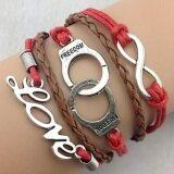 ขาย Retro Infinity Love Word Leather Charm Bracelet Bronze Gift Cute Red Brown เป็นต้นฉบับ