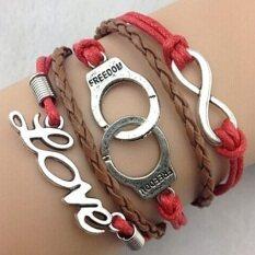 ขาย Retro Infinity Love Word Leather Charm Bracelet Bronze Gift Cute Red Brown Unbranded Generic เป็นต้นฉบับ