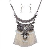 Retro Style Bohemia Style Tassels Weave Accessories Earring Necklace Fashion Jewelry Set Royal Red Color White Intl เป็นต้นฉบับ