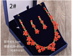 ราคา ราคาถูกที่สุด เกาหลี Rhinestone สีแดงแต่งงานต่างหูสร้อยคอต่างหู