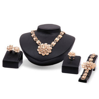 ... Ring Jewelry Sets – intl. Rich Long 18K Gold Plated Women's Vintage Wedding Party Rhinestone Necklace & Earrings & Bracelet &