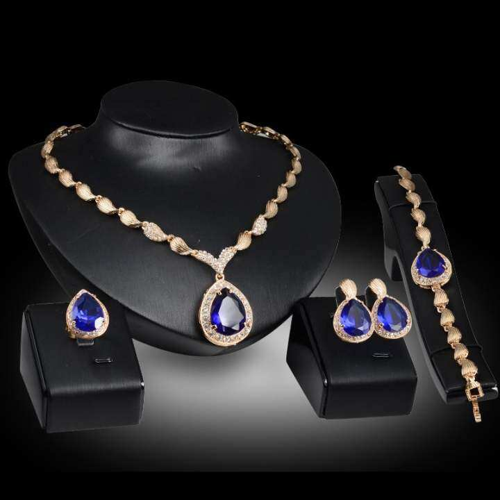 Rich Long Gold Plated Crystal Rhinestone Necklace