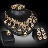 ส่วนลด Rich Long Gold Plated Rhinestone Necklace Earrings Bracelet Ring Jewelry Sets จีน