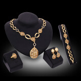 ส่วนลด สินค้า Rich Long Gold Plated Rhinestone Necklace Earrings Jewelry Sets
