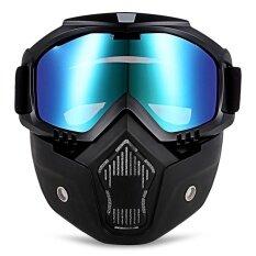 โปรโมชั่น Robesbon Mt 009 Motorcycle Goggles With Detachable Mask And Mouth Filter Harley Style Protect Padding Helmet Sunglasses Intl ถูก