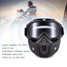 ราคา Robesbon Mt 009 Motorcycle Goggles With Detachable Mask And Mouth Filter Harley Style Protect Padding Helmet Sunglasses Grey Color Intl ราคาถูกที่สุด