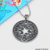 ขาย ซื้อ ออนไลน์ Rorychen Retro Magic Map Round Card Pendant Male And Female Metal Stone Round Necklace Intl