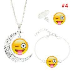 Rorychen Women Fashion Silver Plated With Cute Emoji Moon Necklace Bracelet Earrings Jewelry Set For Women Gift Pendants Necklaces Jewelry Intl ใหม่ล่าสุด