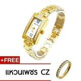 โปรโมชั่น Royal Crown นาฬิกาข้อมือผู้หญิง สายสแตนเลสชุบทองอย่างดี สีทอง รุ่น 3591 Ssl Gold Royal Crown