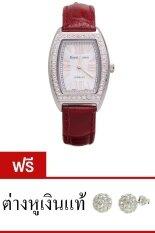 ส่วนลด Royal Crown นาฬิกาประดับเพชร หรูสไตล์อิตาลี รุ่น 3635L Red แถมฟรี ต่างหูเงินแท้มูลค่า 990 บาท 1 คู่