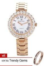 ราคา Royal Crown นาฬิกาผู้หญิง สายสแตนเลส ประดับเพชร รุ่น 6305 Ssl สีพิงค์โกลด์ แถมฟรี แหวนเพชร Cz เป็นต้นฉบับ Royal Crown