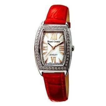 Royal Crown นาฬิกาข้อมือผู้หญิง สายหนัง ประดับเพชร cz อย่างดี รุ่น 3635L (Red)