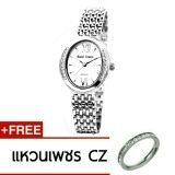 โปรโมชั่น Royal Crown นาฬิกาข้อมือผู้หญิง สายสแตนเลส ประดับเพชร Cz อย่างดี รุ่น 6309 สี Silver