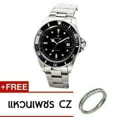 ราคา Royal Crown นาฬิกาข้อมือผู้หญิง สายสแตนเลสของแท้อย่างดี รุ่น 3663L Black Silver ใหม่ล่าสุด