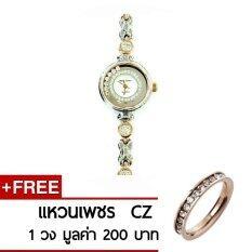 Royal Crown นาฬิกาข้อมือผู้หญิง สี Ping Gold สายสแตนเลสอย่างดี รุ่น 6402 Ssl Ping Gold แถมฟรีแหวน Cz 1 วง มูลค่า 200 บาท เป็นต้นฉบับ