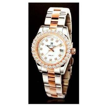 Royal Crown นาฬิกาข้อมือสุภาพสตรี ประดับเพชร cz อย่างดี สายสแตนเลส รุ่น 3662L-CZ (PinK GOLD/Silver)