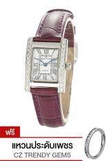 ขาย Royal Crown นาฬิกาข้อมือผู้หญิง Purple สายหนัง รุ่น 6306 Le ฟรี แหวนเพชร Cz ผู้ค้าส่ง