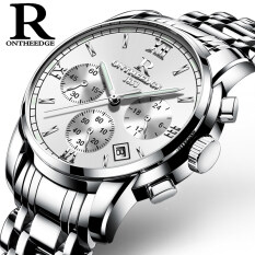 R Onthreedge นาฬิกาข้อมือควอตซ์สายเหล็ก พร้อมหน้าปัดเรืองแสงสำหรับคู่รัก By Taobao Collection.