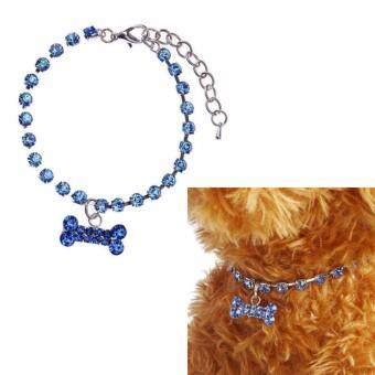 ไซส์ S. ปลอกคอสุนัขแบบสร้อยคอ เครื่องประดับน้องหมา คริสตัล DIamante กระดูก Rhinestone จี้สัตว์เลี้ยงสร้อยคอ (สีน้ำเงิน)