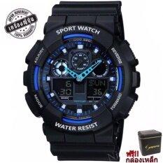 S Sport นาฬิกาข้อมือ ชายและหญิง (แถมกล่องสวยหรู) กันน้ำได้ดี Ga110gb-1a(black/ Blue).