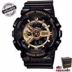 S Sport Watch ชายและหญิง (แถมกล่องสวยหรู)  กันน้ำได้ดี Ga110gb-1a(black/ Gold).
