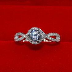 ซื้อ S925 แหวนเพชรเพชรเจาะจำลอง Micro Pave กลวงนางสาว ใหม่ล่าสุด