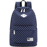 ราคา สไตล์สบายกระเป๋าเป้ผ้าใบลายจุดท่องเที่ยวอ๊อกซฟอร์ดหิ้วกระเป๋านักเรียน Daypack ที่มีซับในแล็ปท็อปสีฟ้าไพลิน ที่สุด