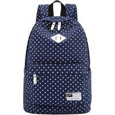 ขาย สไตล์สบายกระเป๋าเป้ผ้าใบลายจุดท่องเที่ยวอ๊อกซฟอร์ดหิ้วกระเป๋านักเรียน Daypack ที่มีซับในแล็ปท็อปสีฟ้าไพลิน ออนไลน์
