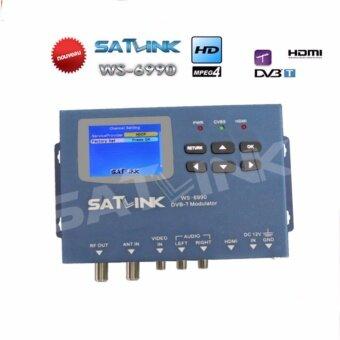 Satlink WS-6990 HD AV อินพุตเดี่ยวช่อง DVB-T Modulator ขนาดกะทัดรัดและติดผนังดาวเทียม satlink วิทยุ Radiox มิเตอร์ดิจิตอล -สนามบินนานาชาติ