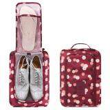 Savfy กระเป๋ารองเท้า กระเป๋าใส่รองเท้า Shoes Pouch Portable Shoes Organizer Shoes Bag(Wine Red Flower เป็นต้นฉบับ