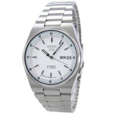 Seiko 5 Automatic Men S Watch สีเงิน สีขาว สายสแตนเลส รุ่น Snxm17K ใหม่ล่าสุด